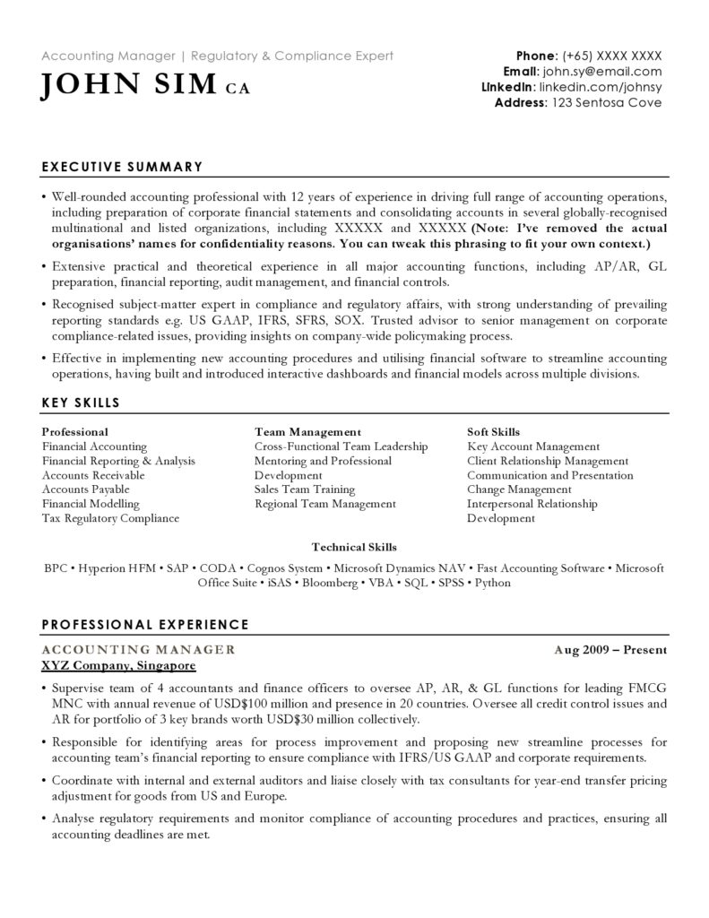 accounting resume sample