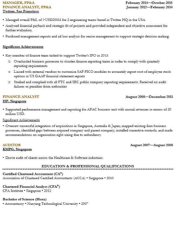 Finance Manager Resume Sample Singapore Cv Template